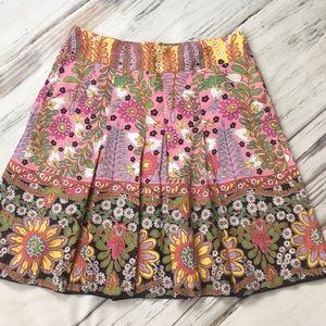 CAbi Skirt Ashbury Retro Floral Pleat Pockets 8